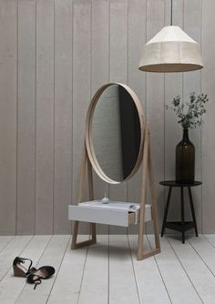 """Pinch design is a studio from London which recently came up with a stylish mirror design called Iona Cheval. Here is a short description from the designers: """"The Iona Cheval mirror is a full-length elliptical mirror framed in solid oak with a shaker-sty Furniture Inspiration, Interior Inspiration, Design Inspiration, Modern Furniture, Furniture Design, Spiegel Design, Cheval Mirror, Mirror Mirror, Floor Mirrors"""