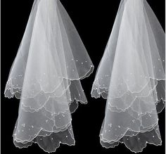 1 Layer Ivory Wedding Bridal Veil Lace Beaded Free Shipping without Comb