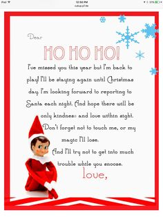Yummy Mummy Kitchen: Elf on the Shelf Letter {free printable} - Buddy The Elf Elf On Shelf Letter, Elf Letters, Shelf Elf, Kids Letters, Elf On Shelf Funny, Printable Letters, Letter Templates, Templates Free, Elf Auf Dem Regal