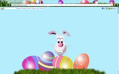 Easter Bunny Chrome, Firefox, IE and Safari Theme for your browser