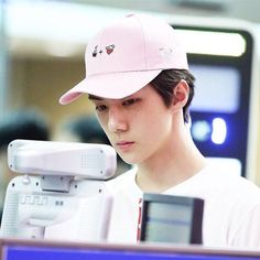 New kpop EXO Sehun The Same pink Fruit embroidery peaked hat baseball Cap #Affiliate