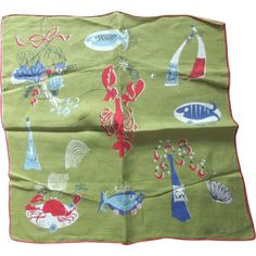 Pat Prichard Sea Creatures Handkerchief, no stains or damages, 14 square.
