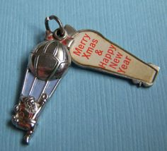 Vintage Wells Santa Claus hot air balloon slides open Merry Xmas sterling silver enamel charm