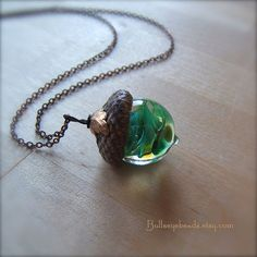 Glass Acorn Necklace  JungleGym by Bullseyebeads by bullseyebeads, $24.00