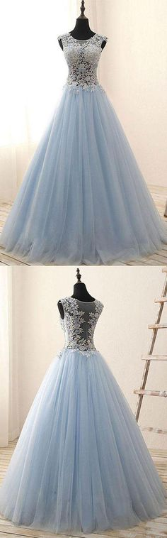 Light Blue Tulle Long Prom/Evening Dress #partydress #promdress #prom
