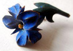 RARE Bakelite - Painted Blue Flower - Vintage - Gentian - Alps - Carved - Cobalt - Old Creamed Corn - Whimsical - 1930's - by catROCKSvintage on Etsy https://www.etsy.com/listing/213729416/rare-bakelite-painted-blue-flower