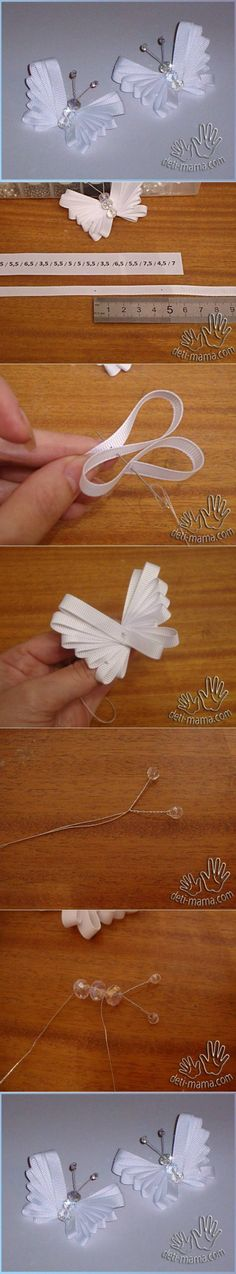 Discover thousands of images about DIY Tutorial: DIY Ribbon Crafts / DIY Easy Ribbon Butterfly - Bead&Cord Ribbon Art, Diy Ribbon, Ribbon Crafts, Ribbon Bows, Fabric Crafts, Sewing Crafts, Diy Crafts, Ribbons, Ribbon Flower