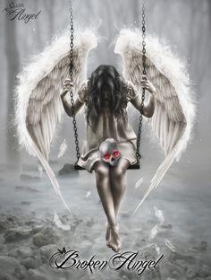 Image about broken in Angels (with chicano art ) by Sabrina Dark Fantasy Art, Fantasy Kunst, Sad Angel, Angel And Devil, Gothic Angel, Gothic Art, Fallen Angel Tattoo, Angel Of Death Tattoo, Aztecas Art