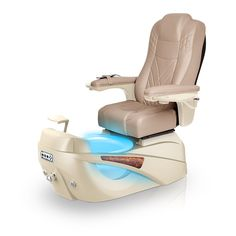 Luminous pedi-spa shown in Acorn Ultraleather cushion, Champagne base, Aurora LED Color-Changing bowl (shown in blue)