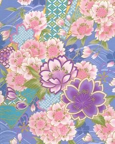 JAPANESE KIMONO DESIGN: Cherry Blossoms - Periwinkle/Gold (1/2 yd)