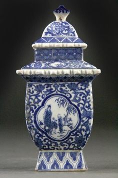Chinese Blue and White Porcelain Covered Jar.