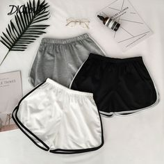 Buy 2018 Simple Women Casual Body Fitness Workout Elastic Skinny Slim Beach Shorts at Wish - Shopping Made Fun