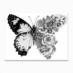 Butterfly in Bloom Mini Art Print by ECMazur - Without Stand - 3 Tribal Tattoos, Tattoos Skull, Black Tattoos, Small Tattoos, Female Leg Tattoos, Girl Thigh Tattoos, Side Thigh Tattoos Women, Side Hip Tattoos, Thigh Tattoo Men