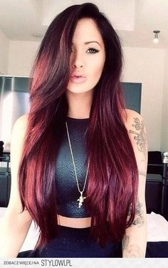 Black hair with red tint
