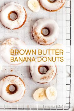 Banana bread donuts are made with brown butter, brown sugar, cinnamon and nutmeg. Each baked banana doughnut is topped with a brown butter glaze for a tasty breakfast treat! Try this delicious recipe in a donut pan. | www.ifyougiveablondeakitchen.com via @haleydwilliams