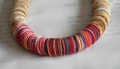 Items similar to Red,Pink,Orange,Yellow,White paper necklace. on Etsy Paper Jewelry, Paper Beads, Jewelry Gifts, Handmade Jewelry, Handmade Leather, Jewellery, Leather Chain, Leather Cord, Gifts For Women