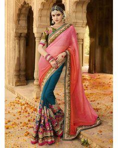 Pink & Blue Silk Georgette Saree