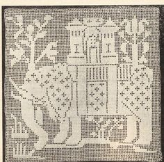 Vintage early 1900s elephant square crochet pattern pdf