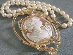 hand-carved shell cameo & pearl-strand necklace