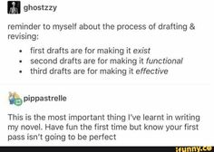 This is the *best* writing advice I've ever gotten in my life. Writing Memes, Writing Promps, Book Writing Tips, Writing Words, Writing Resources, Writing Help, Creative Writing, Writing Ideas, Writing Workshop