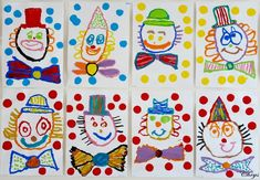 Le Journal de Chrys: Mon projet CIRQUE en maternelle (1) Clown Crafts, Carnival Crafts, Carnival Themes, Clown Cirque, Le Clown, Theme Carnaval, Circus Art, Clowning Around, Easy Art Projects
