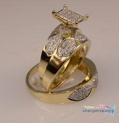 Men And Women's Diamond & Yellow Gold Trio Ring Set Engagement /Wedding Band  #Silvergemsjewelry