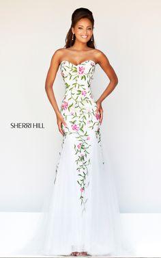 Floral White Sherri Hill 1926 Mermaid Prom Dress