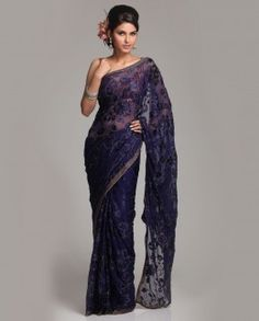 Navy blue Georgette Brasso saree covered all over in a floral pattern, embroidered with matching sequins work outlining and border this saree is perfect coktail wear. Indian Attire, Indian Wear, Indian Outfits, Indian Clothes, Indian Style, Dressy Dresses, Girls Dresses, Meena Bazaar, Indian Couture