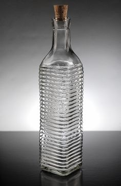 "Ridged Glass Bottle w/Cork Top 16.9 oz, 10-1/4"" tall and 2-1/4"" wide with a 3/4"" opening"