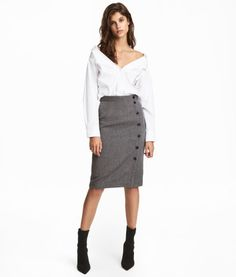 Dark gray/herringbone. Knee-length skirt with decorative buttons. Concealed zip at back.