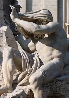 Piazza Navona; The Nile allegory, What Bernini conceived for piazza Navona is undoubtly the most complex and ingenious composition among Rome's fountains.