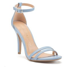 LC Lauren Conrad Runway Collection Ankle Strap Women's High Heels ($40) ❤ liked on Polyvore featuring shoes, med blue, blue open toe shoes, open toe shoes, blue high heel shoes, blue evening shoes and cocktail shoes
