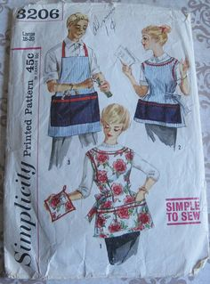 Vintage Simplicity Printed Sewing Pattern 3206..Large 18-20..Misses' and Men's Apron. $4.95, via Etsy.