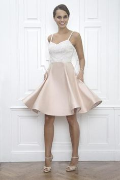Elizabeth Sequin and Blush Pink Silk Wedding Reception and After Party Dress