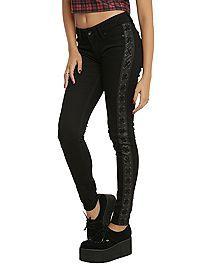 HOTTOPIC.COM - LOVEsick Black Side Tie Skinny Jeans