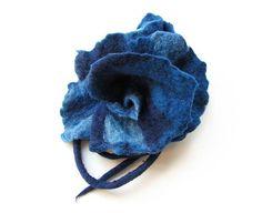 Felted brooch wool felt navy blue bright blue by MarlenaRakoczy, $25.00