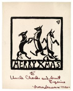 Christmas Card from Lenna Glackens, 1928 at Williams College Museum of Art. Lenna Glackens was the daughter of William James Glackens (March 13, 1870 – May 22, 1938) who was an American realist painter and one of the founders of the Ashcan School of American art.