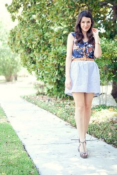 striped skirt, floral top #ss