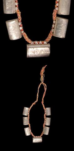 India - Rajasthan, Barmer | Necklace ~ taitia ~ silver with silk cotton cord | ca. prior to 1974. // ©Quai Branly Museum. 71.1974.93.176 Tribal Jewelry, Indian Jewelry, Jewelry Art, Antique Jewelry, Silver Jewelry, Art Furniture, Jewelery, Pendants, Bracelets