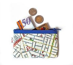 TEL AVIV map wallet - printed wallet coin purse with Tel Aviv streets on it, a souvenir from Israel, gift for her for him for kids