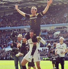 Peter Cech celebrating Frank Lamapard's record breaking 203rd goal