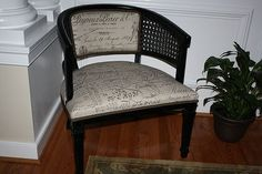 Another cane back barrel chair re-do.  I have a chair like this and I'm looking for ideas on how to re-do it.