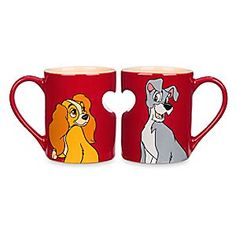 Lady and the Tramp Mug Set | Disney Store Clear the stars from your eyes after a lovely ''Bella Notte'' with a warm beverage served in this pair…