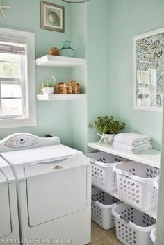 niche on the side with shelves deep enough for laundry baskets. Top load washer and dryer.