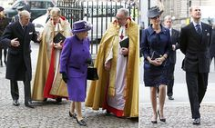 The Queen was wearing a dark purple coat and matching hat. She was greeted by the Dean of Westminster, The Very Reverend Dr John Hall, as she arrived at Westminster Abbey.