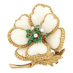 Van Cleef amp;amp; Arpels, White Coral and Emerald Flower Brooch