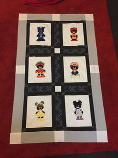 Half way through my golliwogg appliqué lap quilt. Designed my own machine appliqué patterns because there is none available online.