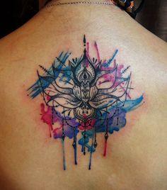 Lotus Mandala Tattoo Neck Watercolor lotus mandala