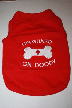 LIFEGUARD ON DOODY ★ DOG PET T-SHIRT CLOTHES ★ ALL SIZES EMBROIDERED SWIM BEACH