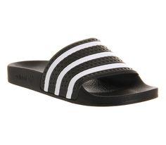 fa7d030b56598 Adidas Adilette Slider Black White Chanclas